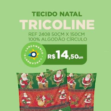 TECIDO TRICOLINE NATAL 2021 REF 2408 50CM X 150CM 100% ALGODÃO CÍRCULO
