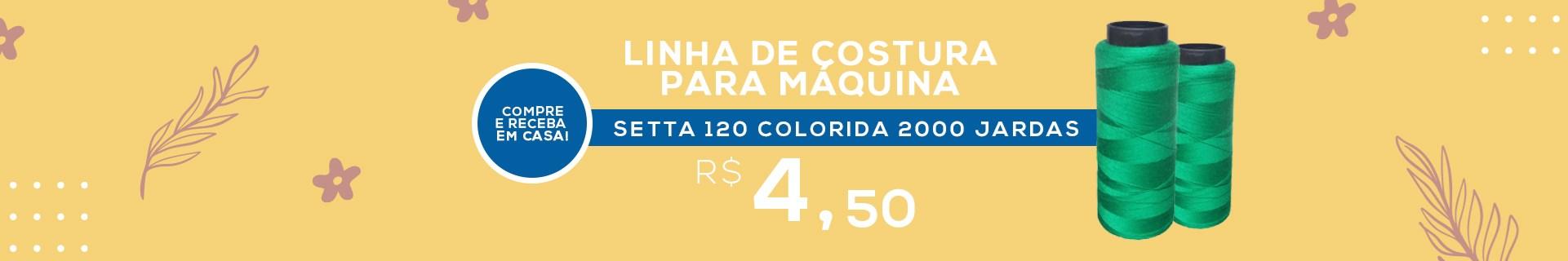 LINHA DE COSTURA PARA MÁQUINA SETTA 120 COLORIDA COM 2000 JARDAS