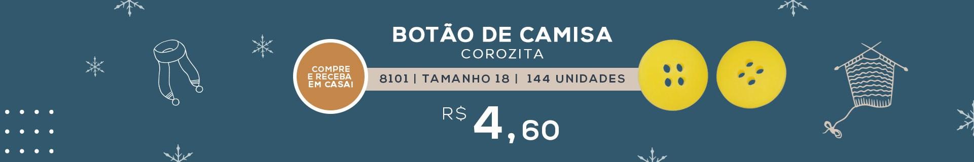 BOTÃO DE CAMISA COM 4 FUROS COROZITA 8101 TAMANHO 18 COM 144 UNIDADES