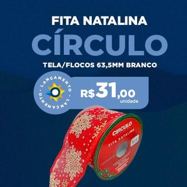 FITA NAT TELA/FLOCOS CIRCULO 63,5MM BRANCO