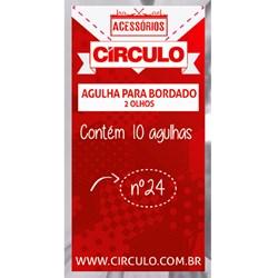 AGULHA PARA BORDADO 2 OLHOS CIRCULO Nº24 COM 10 UNIDADES