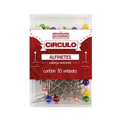 Alfinete de Cabeça Plástico Redondo Colorido c/ 80 unidades Círculo
