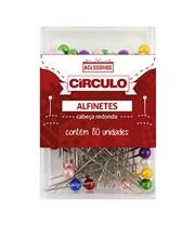 Alfinetes Cabeça Redonda Colorida - 80 unidades - Circulo