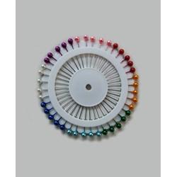 Disco de Alfinete Cabeça Colorida - 12 discos com 40 unidades - Aço e Plástico - Círculo
