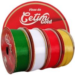 Fita de Cetim Gold 22mm 100% Poliéster Borda Dourada c/10 Metros Círculo