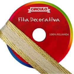 FITA DECORATIVA ESP. CIRCULO DOURADA 22MM C/10M
