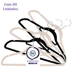 Kit Cabide de Veludo Slim Adulto com 90un Importado