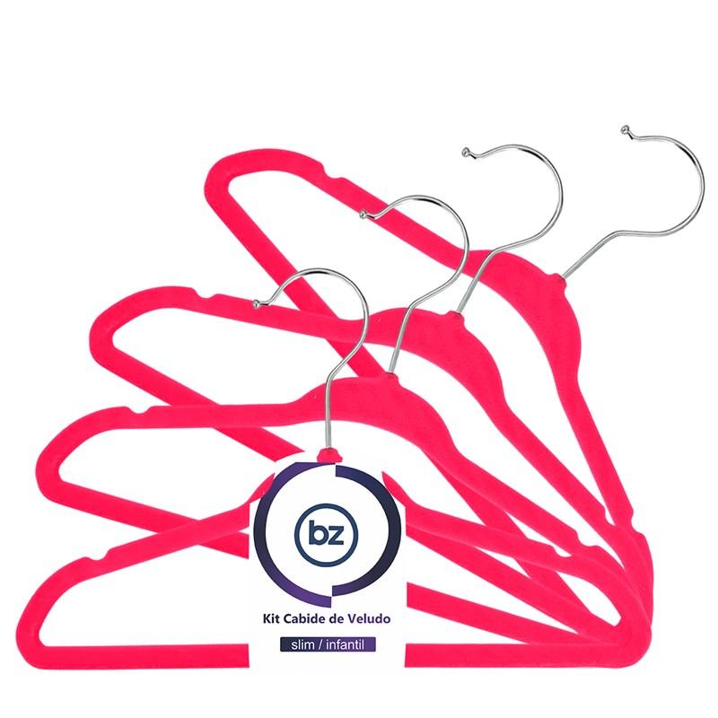 Kit Cabide de Veludo - Slim - Infantil - com 30un - VMH