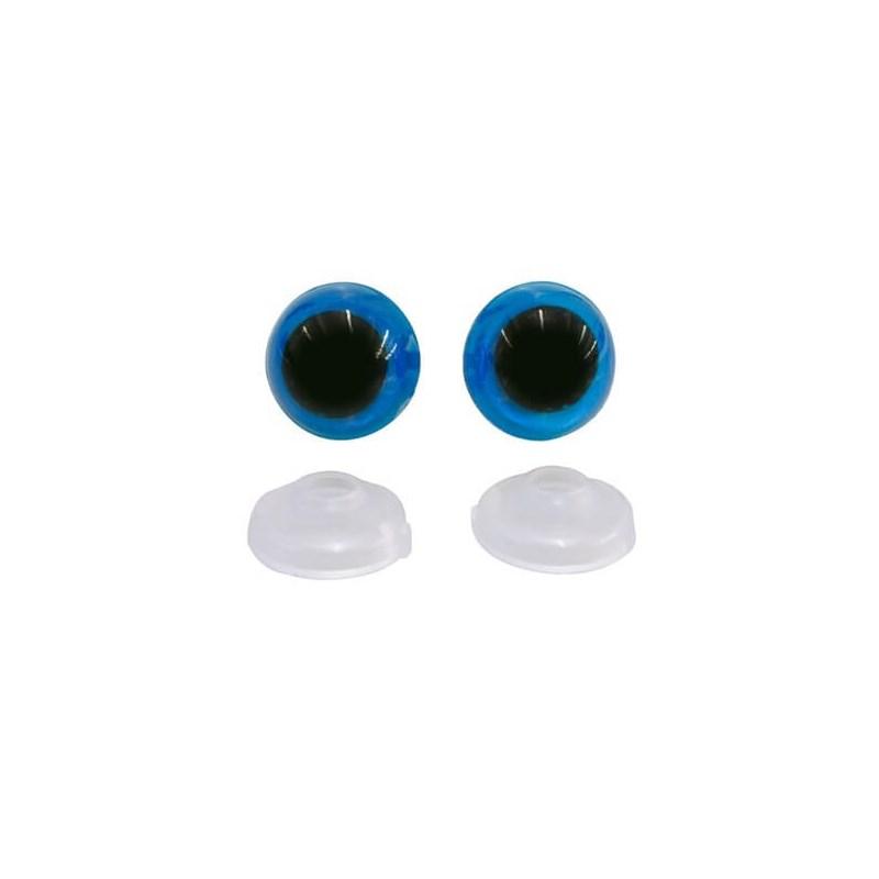 Olhos Para Amigurumi - Com 10 Pares - Azul - Circulo