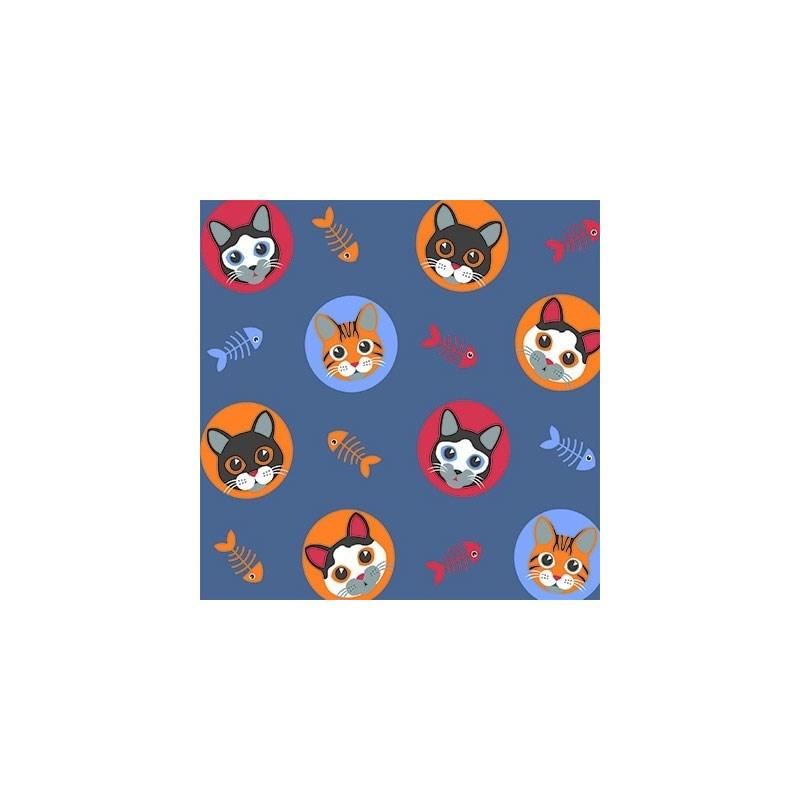 Tecido Tricoline Para Artesanato - 5067 - Gatinho - 100cm x 150cm - Peripan