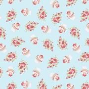 Tecido Tricoline Para Patchwork - 8303 - Cupcake Flower Azul Brisa - 50cm x 150cm - Fabricart
