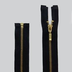 Zíper de Metal - Destacável - Dourado - 45cm - Pingente Palito - Pacote com 10 Unidades - VMH