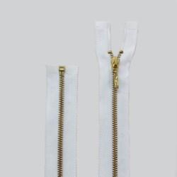 Zíper de Metal - Destacável - Dourado - 60cm - Pingente Palito - Pacote com 10 Unidades - VMH