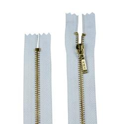 Zíper de Metal - Fixo - Dourado - 10cm - Pingente Palito - Pacote com 10 Unidades - BZ