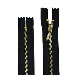 Zíper de Metal - Fixo - Dourado - 12cm - Pingente Palito - Pacote com 10 Unidades - BZ
