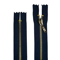 Zíper de Metal - Fixo - Dourado - 15cm - Pingente Palito - Pacote com 10 Unidades - BZ