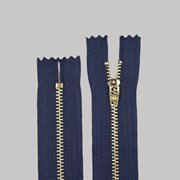 Zíper de Metal Médio - Fixo - Dourado - 10cm - Importado - Pacote com 10 Unidades