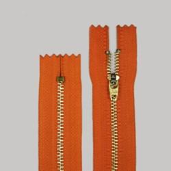 Zíper de Metal Médio Fixo Dourado 12cm BZ Pacote com 10 Unidades