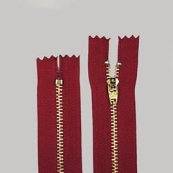 Zíper de Metal Médio - Fixo - Dourado - 15cm - Importado - Pacote com 10 Unidades