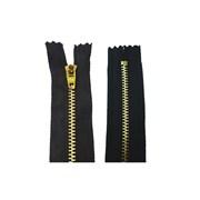 Zíper de Metal Médio - Fixo - Dourado - 4cm - Importado - 10 unidades