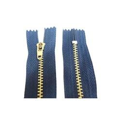 Zíper de Metal Médio - Fixo - Dourado - 6cm - Importado - Pacote com 10 Unidades