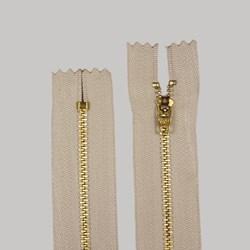 Zíper de Metal Médio - Fixo - Dourado - 8cm - Importado - Pacote com 10 Unidades